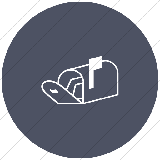 Flat Circle White On Blue Gray Classica Open Mailbox Icon