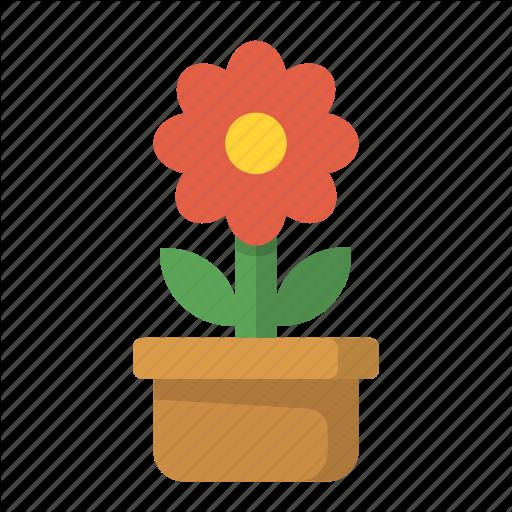 Floral, Flower, Pot Icon