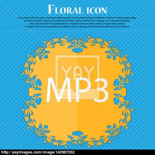 Music Format Sign Icon Musical Symbol Floral Flat Design