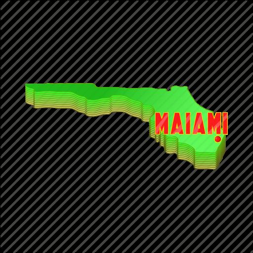 America, Cartoon, Florida, Map, Miami, Sign, Usa Icon