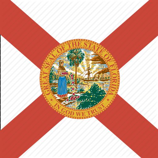 American, Flag, Florida, Square, State Icon