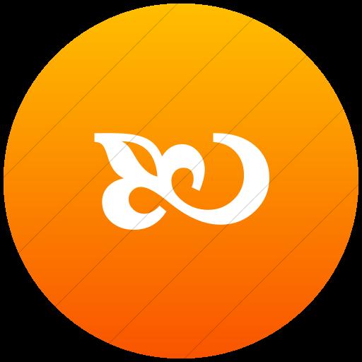 Flat Circle White On Orange Gradient Classica Flourish