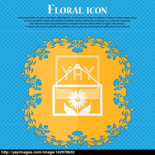Frame With Flower Icon Sign Floral Flat Design On A Blue Abstract