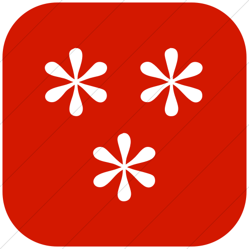 Flat Rounded Square White On Red Classica Three Simple
