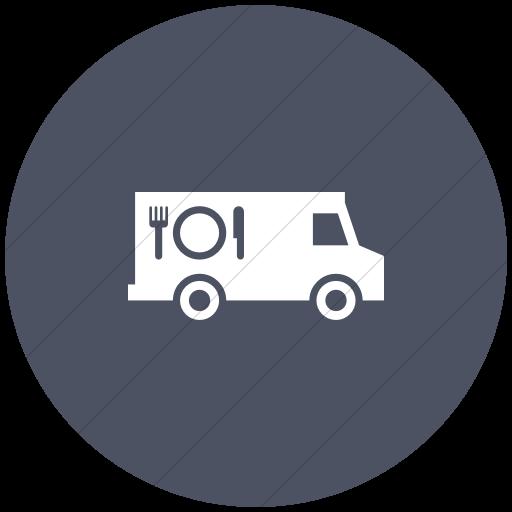 Flat Circle White On Blue Gray Iconathon Food Truck Icon