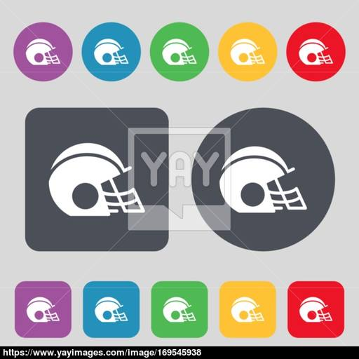 Football Helmet Icon Sign A Set Of Colored Buttons Flat