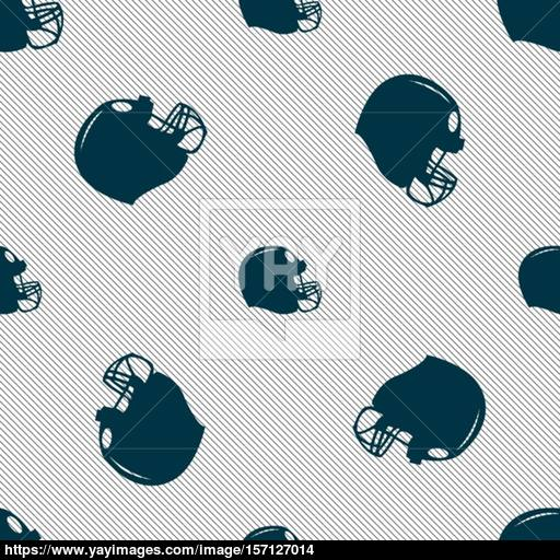 Football Helmet Icon Sign Seamless Pattern With Geometric Texture