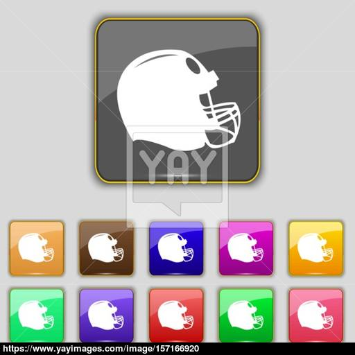 Football Helmet Icon Sign Set With Eleven Colored Buttons