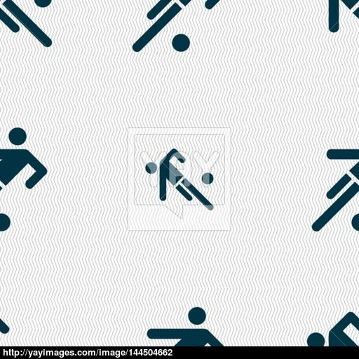 Football Player Icon Seamless Abstract Background With Geometric