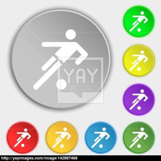 Football Player Icon Symbols On Eight Flat Buttons Vector Vector