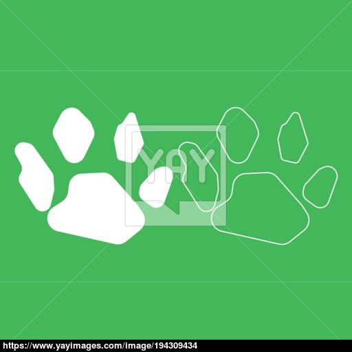 Animal Footprint Icon Illustration White Color Vector