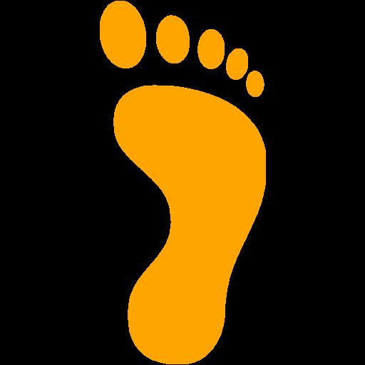 Orange Right Footprint Icon