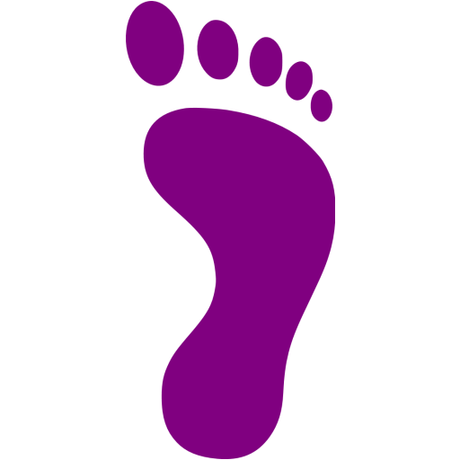 Purple Right Footprint Icon