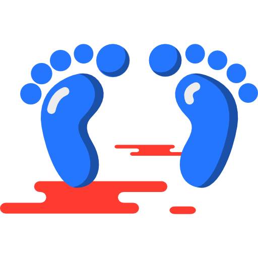 Footprints, Barefoot, Evidence, Feet Icon