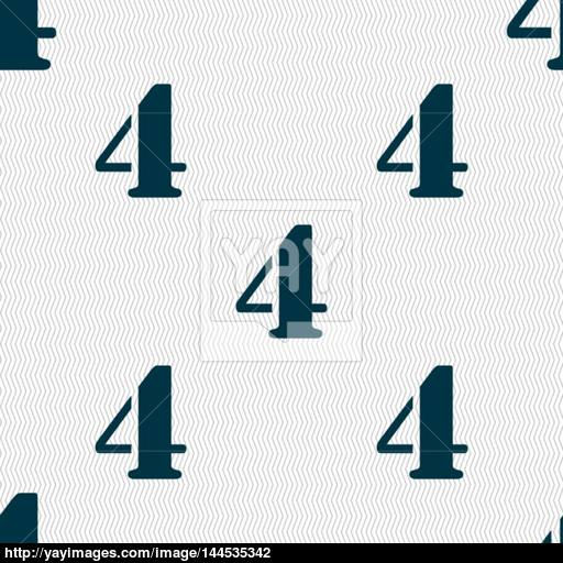 Number Four Icon Sign Seamless Abstract Background With Geometric