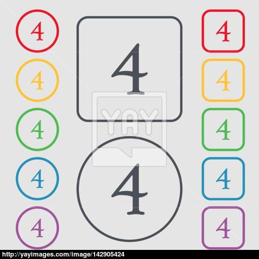 Number Four Icon Sign Symbols On The Round And Square Buttons