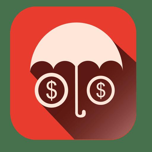 Umbrella Dollars Square Icon
