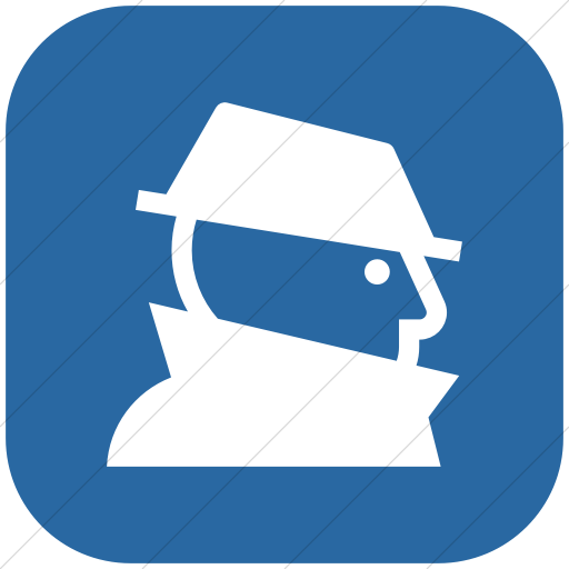 Flat Rounded Square White On Blue Iconathon Fraud Icon