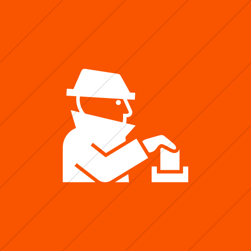 Flat Square White On Orange Iconathon Voter Fraud Icon