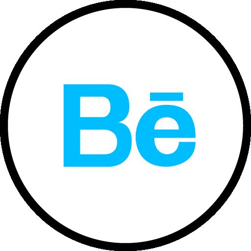 Behance Free Social Media Blue Round Outline Icon Design