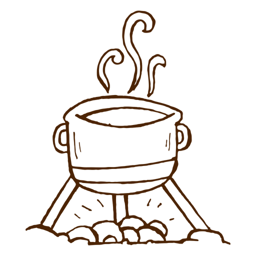 Hand Drawn Camping Cooking Pot Icon