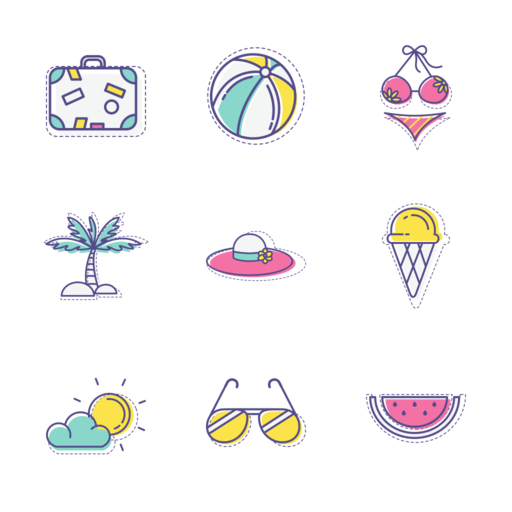 Summer Holiday Icons Set Free Vector Icon Packs Free Vector