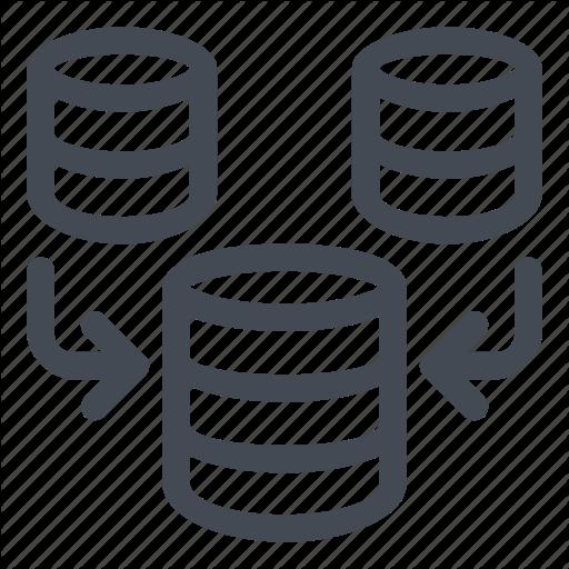 Database, Information, Line, Merge Icon
