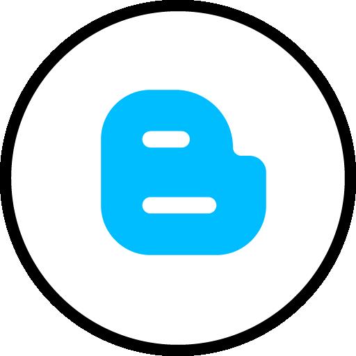 Blogger Free Social Media Blue Round Outline Icon Design
