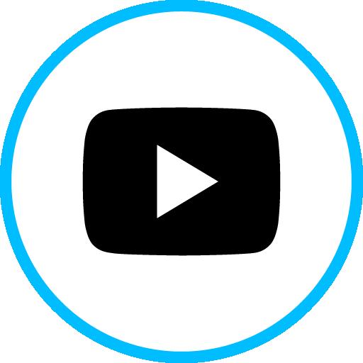 Youtube Play Free Social Media Blue Round Outline Icon Design