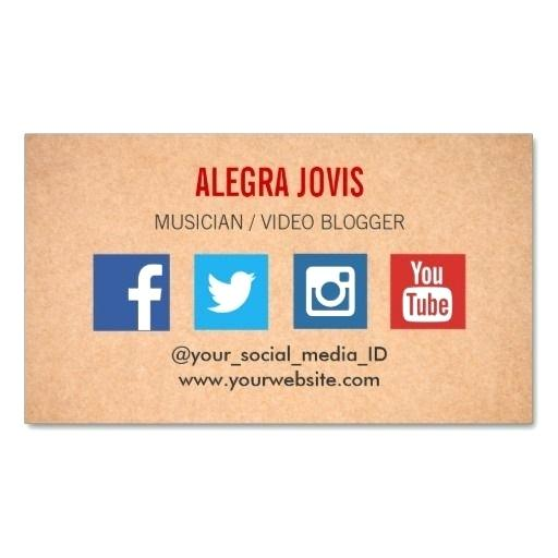 Business Card With Social Media Elegant Minimal Free Template Icons T