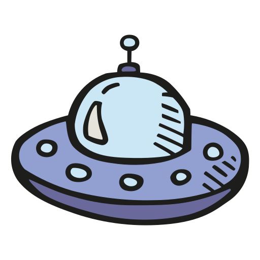 Alien, Ship Icon Free Of Space Hand Drawn Color Sticker