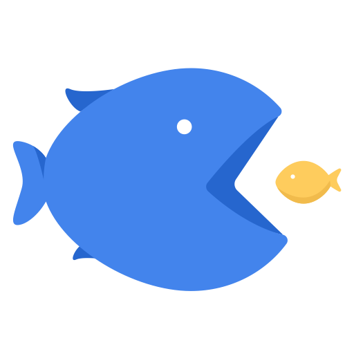 Big Fish Eats Small Fish, Business, Eat, Fish, Stronger, Work Icon