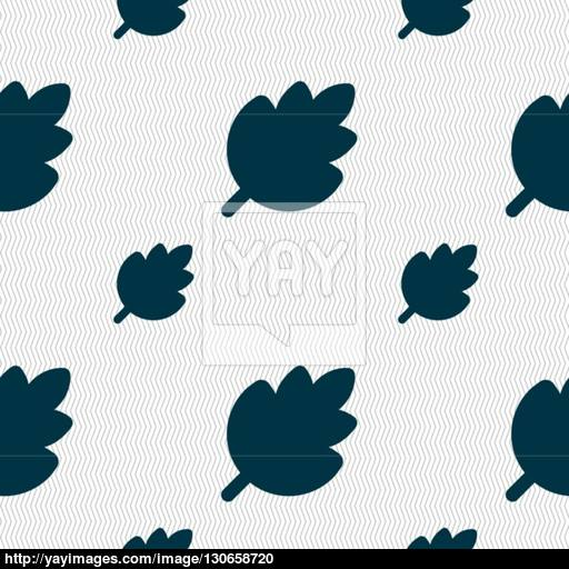 Leaf, Fresh Natural Product Icon Sign Seamless Pattern