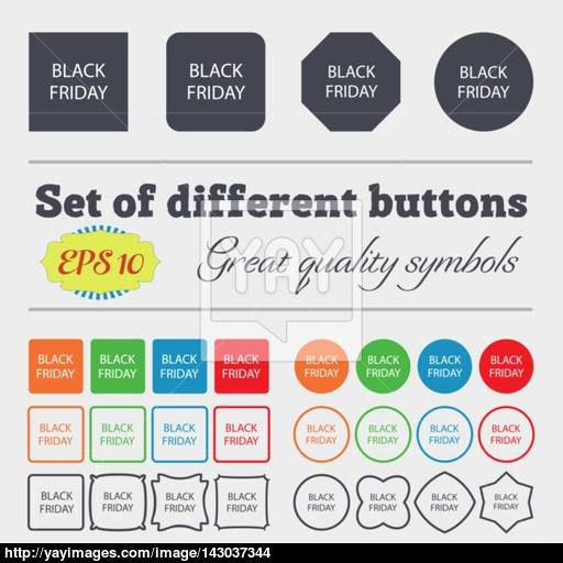 Black Friday Sign Icon Sale Symbol Special Offer Label Big Set