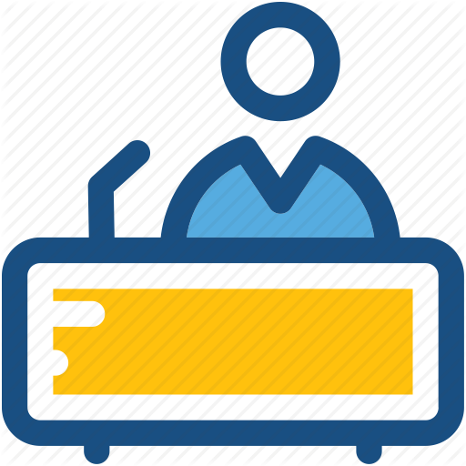 Clerk, Front Desk, Help Desk, Receptionist, Workstation Icon