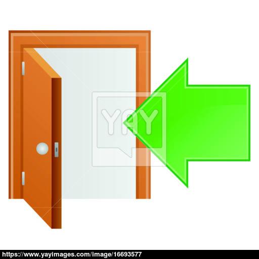 Brown Wood Door And Arrow Icon Vector