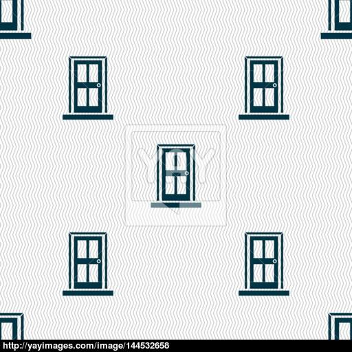 Door Icon Sign Seamless Abstract Background With Geometric Shapes