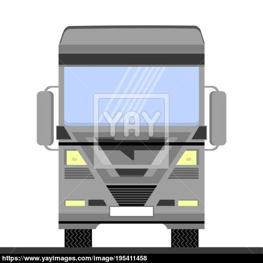 Grey Container Truck Icon On White Background Front View Cargo