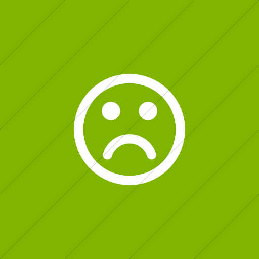 Flat Square White On Green Bootstrap Font Awesome Frown
