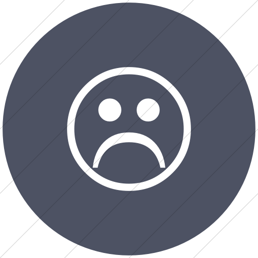 Flat Circle White On Blue Gray Classic Emoticons