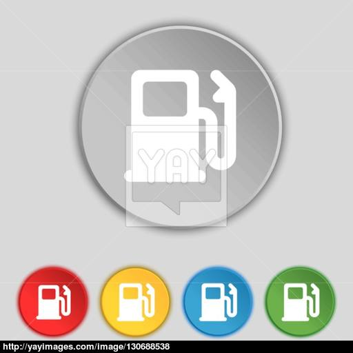 Petrol Or Gas Station, Car Fuel Icon Sign Symbol On Five Flat