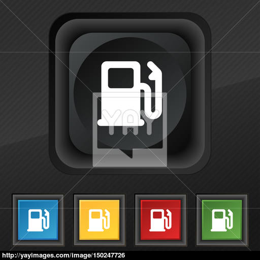 Petrol Or Gas Station, Car Fuel Icon Symbol Set Of Five Colorful