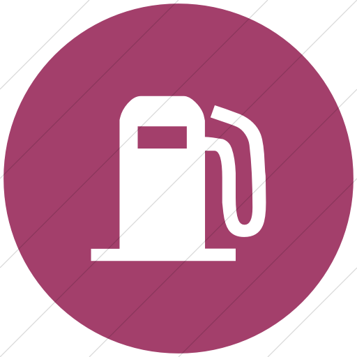 Flat Circle White On Pink Classica Fuel Pump Icon