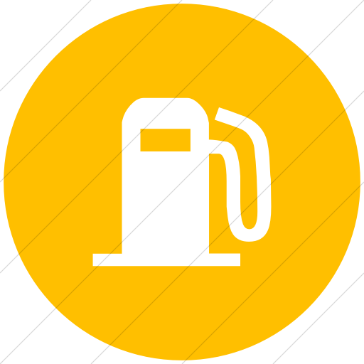Flat Circle White On Yellow Classica Fuel Pump Icon