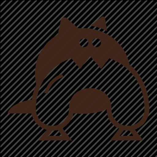 Black Cat, Cartoon, Cat, Cunning, Hungry Cat, Pet, Stolen Sausage Icon