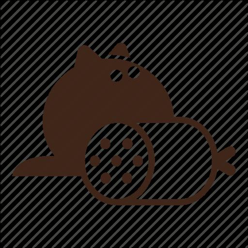 Black Cat, Cartoon, Cat, Fluffy, Hungry, Pet, Sausage Icon