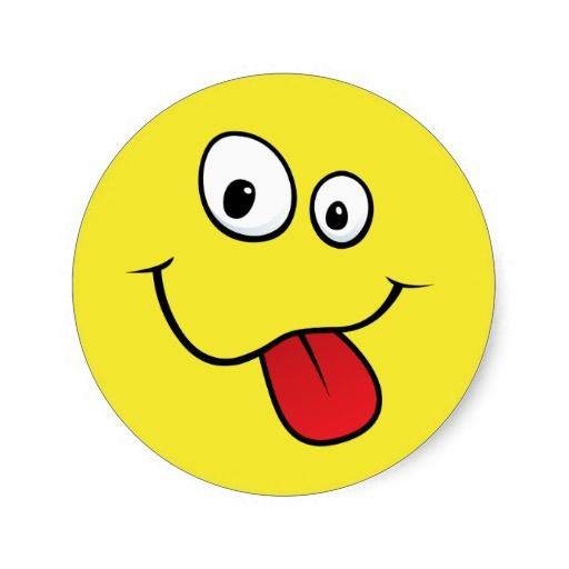 Funny Goofy Sticking Out His Tongue, Yellow Classic Round Sticker