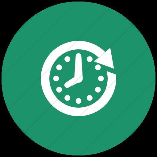 Flat Circle White On Aqua Raphael Clock Future Icon