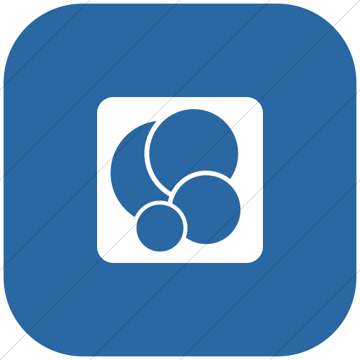 Flat Rounded Square White On Blue Foundation Social