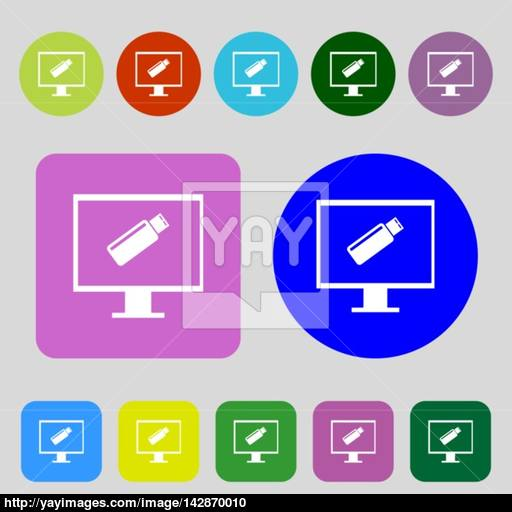 Usb Flash Drive And Monitor Sign Icon Video Game Symbol